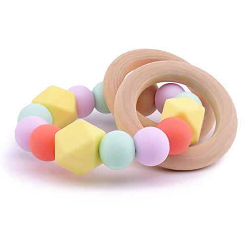Best for baby Mordedor de silicona Dentición de madera Juguete Montessori Cuentas de silicona Juguetes para la dentición Pulsera de enfermería Juguetes para bebés