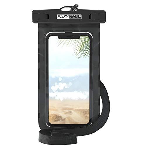 EAZY CASE wasserdichte Premium Handytasche für alle Smartphones bis 6 Zoll, Silikon, dünn, schützt vor Staub, Sand, Schnee, Schmutz, Wasser-Schutzhülle mit Umhängeband, IPX8 Zertifiziert, Schwarz