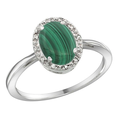 Sterling Silver Natural Malachite Diamond Halo Ring Oval 8X6mm, 1/2 inch Wide, Size 7