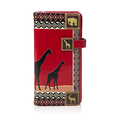 Shagwear ® Portemonnaie Geldbörse Damen Geldbeutel Mädchen Bifold Mehrfarbig Portmonee Designs: (Afrikanische Safari Rot/African Safari)