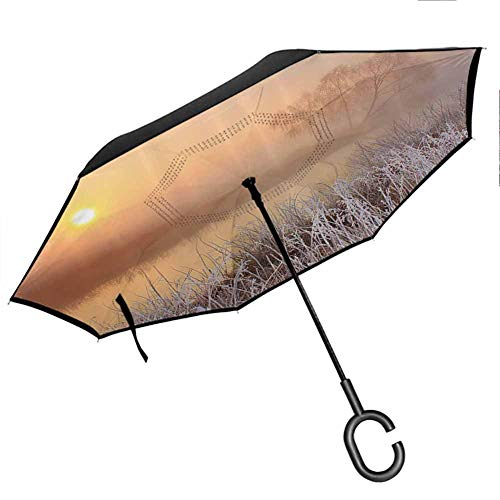 Lake House Decor Collection Upside Down Umbrella with C-Shaped Handle Misty Dawn at Forest with Frost Lake Plants Sun Peaking Through The Horizon Peach Cream Brown