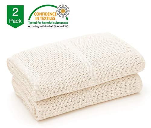 Bloomsbury Mill - Mantas Celulares Extrasuaves Para Bebé - 100 % Algodón Puro - Para Carrito, Capazo o Viajes - Juego de 2 - Crema