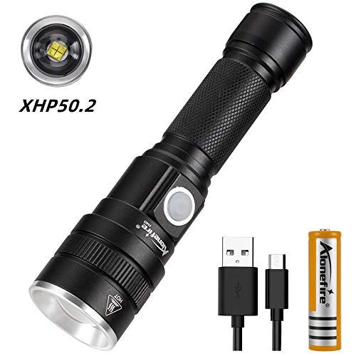 Alonefire H40 Linterna LED Tactica Alta Potencia Recargable USB Impermeable Super Brillante Potente 3 Modo con 18650 Batería de iones de Litio para Acampar Caza Policial Viajes Supervivencia Militar