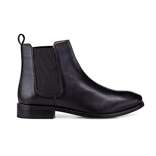 Another A Damen Chelsea-Boots aus Leder, Schwarze Stiefelette mit Leichter Profilsohle Schwarz Leder 38