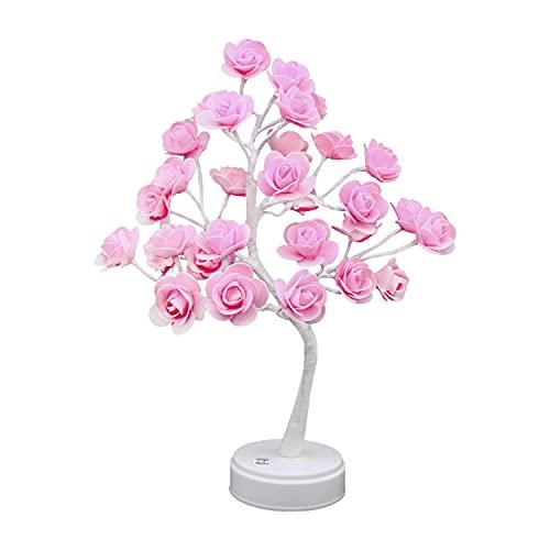 Bonsai - Lámpara LED con forma de árbol rosa, alimentación por USB / batería, lámpara de mesa, 30 LED, luz nocturna para...