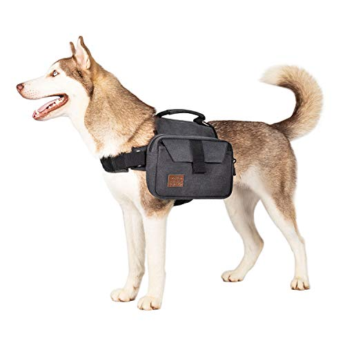 OneTigris Hoppy Camper 2,0 Hunderucksack Camping Wandern Reißen Hundebackpack für M/L Größe Hunde |MEHRWEG Verpackung (L, Schwarz)