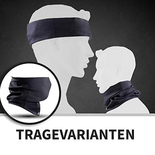 BlackNugget ® Bedrucktes Multifunktionstuch mit ausgefallenem Design - Hochwertige Sturmhaube als Wärm- und Schutztuch - Halstuch, Face Shield, Gesichtsmaske - Schwarz - 2