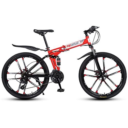 Bicicleta MontañA Plegable Adultos 24/26 Pulgadas Bicicleta Cross-Country Doble Amortiguador Bicicleta Adultos 21/24/27 Velocidades Freno Disco Bicicleta De Carretera