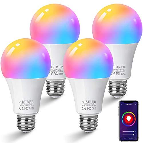 Bombilla LED Inteligente WiFi, AISIRER 10W 1000 Lúmenes E27 Lámpara, WiFi Bombilla Luces Cálidas/Frías & RGB Funciona con Alexa (Echo, Echo Dot) Google Home, 16 Millones de Colores, 4 Pack