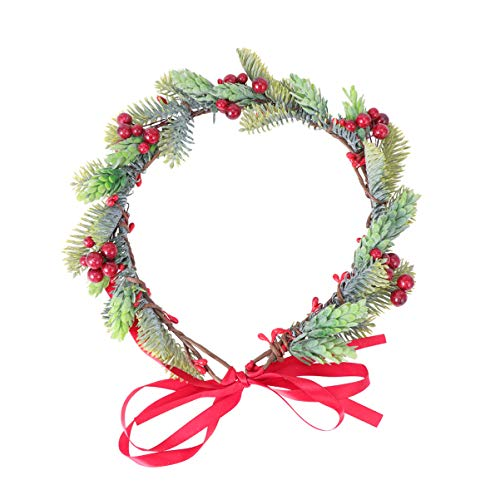 Minkissy Flower Hairband Floral Hair Garland Flower Crown with Holly Berry Leaves Christmas Hair Accessories for Lady Woman Girls