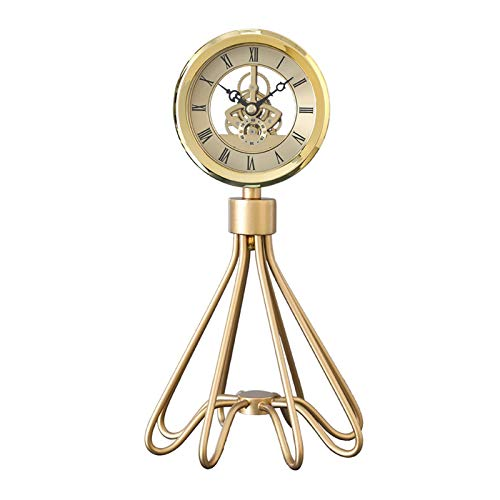 Reloj de moda Reloj de escritorio - Luz de lujo de lujo Arte de oro Reloj Sala de estar Home Moda Oficina Escritorio Decoración creativa Mecánico Reloj de metal Soporte Reloj de noche Reloj de noche R
