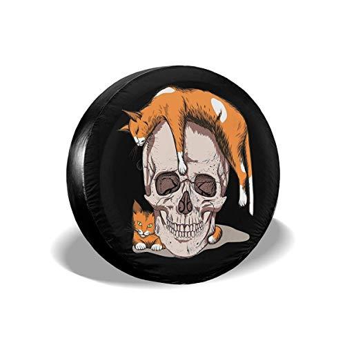 Lewiuzr Skull with Orange Cats Cubierta de neumático de Repuesto Protector Solar de poliéster Cubiertas de Rueda Impermeables Ajuste Universal