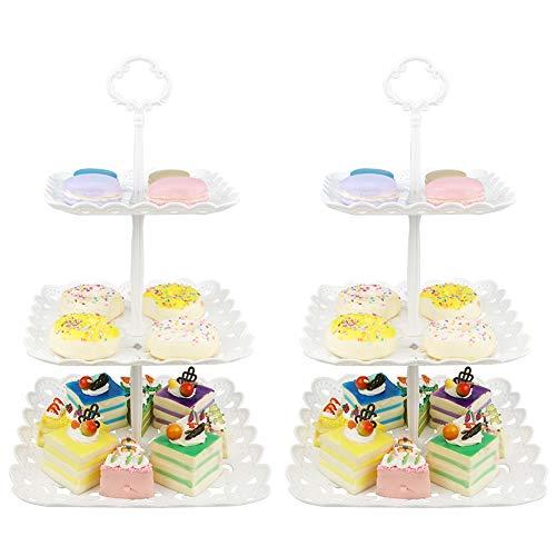 3 Pisos Bandeja de Tartas Torre de Postres Soporte para Tartas Cupcakes Food Dessert al Pomeriggio Tea Party Compleanno(Juego de 2)-Plaza Hueca