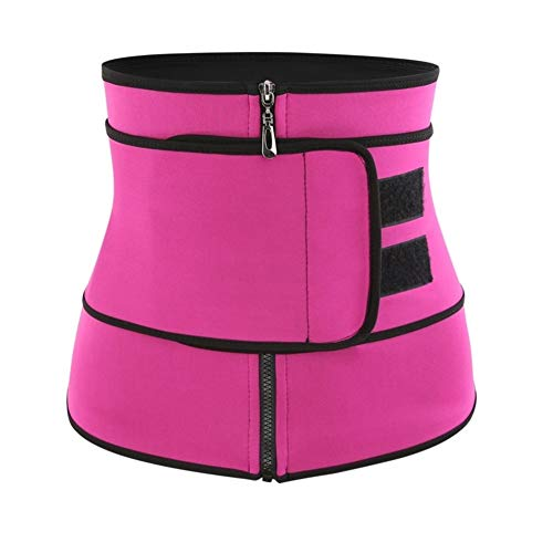 ZWQASP Waist Trainer Thermo Sweat Belt Waist Trainer Girdle Corset Women Tummy Body Shaper Shapewear Fat Burning Fitness Modeling Strap (Color : Pink, Size : XL)