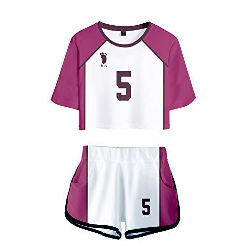 Anime Cosplay Kostüm Haikyuu!! Kostüm Für Erwachsene Team Trikot Volleyball Uniform Freiliegender Nabel 3D Drucken Inklusive T-Shirt Und Shorts - Shiratorizawa School No.5 Tendo Satori,M