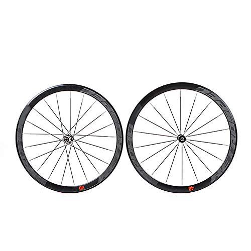 LYzpf Llantas Bicicleta Rueda Perfil Delantera Trasera Bici Rim Conjunto Camino 700C Freno Disco 4 Rodamientos Equipamiento Anti Cursor