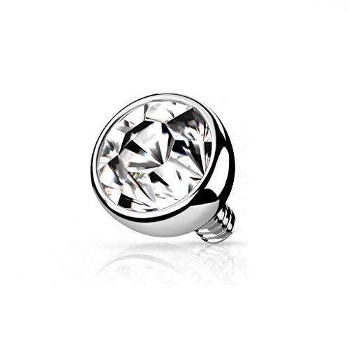 Paula & Fritz® Aufsatz-Dermal Anchor 3-mm Kristall Klar Titan G23 Gewinde 1,2-mm Haut-Anker Skin Diver Implantat Kugel Bodypiercing