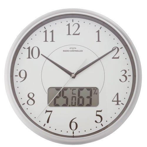 『D2オリジナル 温湿度計付き 電波掛時計』のトップ画像