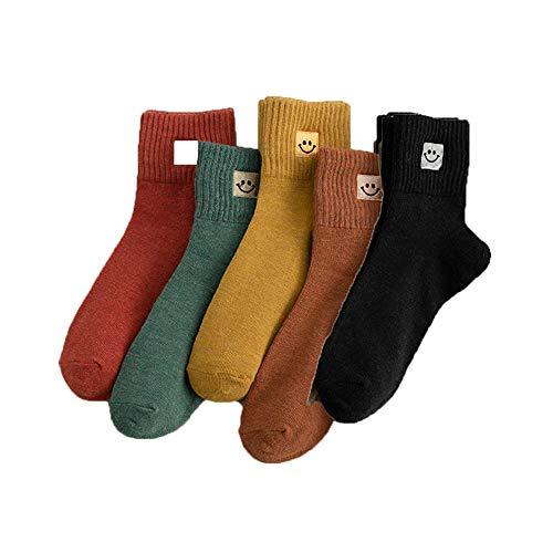 SDFG Socks, Fashion Cartoon Socks, New Lovely Smile Face Socks, Cute Flange Embroidery Socks, Ankle Sock, Cotton Women Socks (5 pcs)