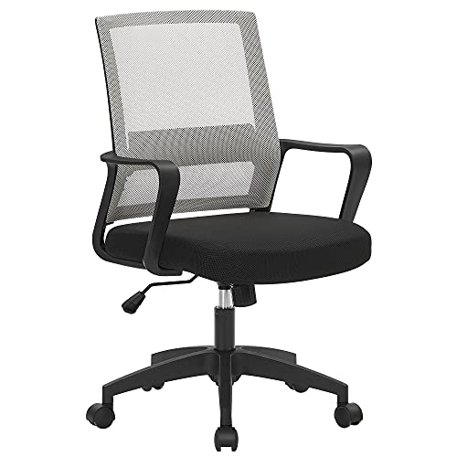SONGMICS Office Chair, Mesh Desk Chair, Adjustable Swivel Chair, Tilt Function, Breathable Mesh Seat and Backrest, for Study Office Studio, Max Load Capacity 120 kg, Grey OBN031G11