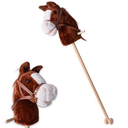 TE-Trend Steckenpferd Sound Kinder Hobby Horse Holzpferd Spielpferd Stockpferd Holz Stock Rollen 96 cm Braun