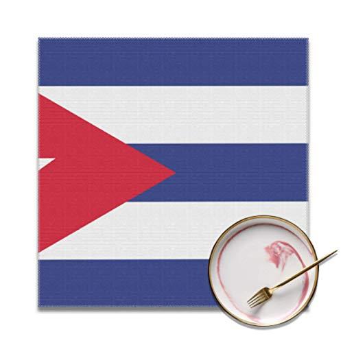 JEOLVP Set mit 4 Tischsets für den Esstisch Cuba Flag Esstischmatte Fleckenresistente waschbare Tischsets für den Tisch für Innen- oder Außenhotels Familienbankett Square Tischset