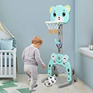 COSTWAY 3-in-1 Retractable Kids Basketball Stand with Football Goal & Ring Toss Play Set, 115-155cm ...