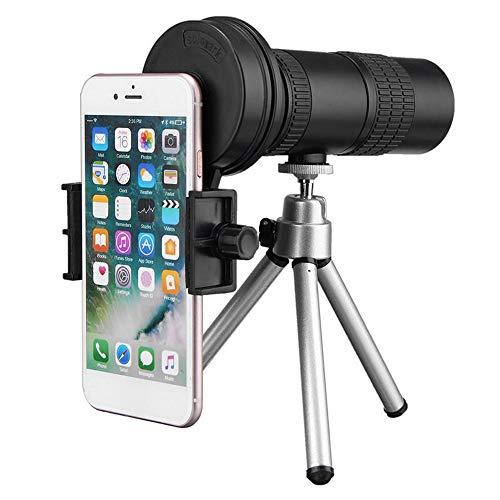 LULUVicky Monocularteleskop Erwachsene Zoom-Einstellung 10-30x Tele Teleskop monokulare Kamera-Objektiv mit Handy Clip-Stativ für Vogelbeobachtung Jagd (Color : White, Size : 128.8 x 43mm)