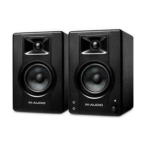 M-Audio BX3 Pair - Par de Monitores de estudio / Altavoces para PC de sobremesa de 120 W para videojuegos, producción musical, transmisiones en directo y pódcasts