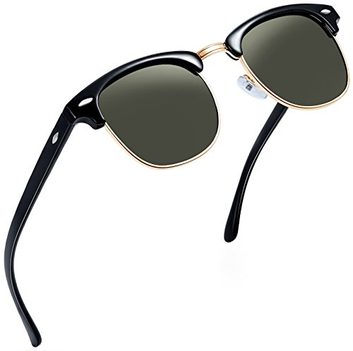 Joopin Semi Rimless Polarized Sunglasses Women Men Retro Brand Sun Glasses (G15)