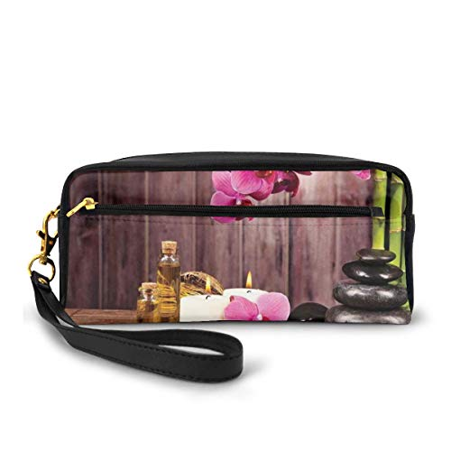 Pencil Case Pen Bag Pouch Stationary,Spa Flower Water Reflection Aromatherapy Bamboo Blossom Candlelight,Small Makeup Bag Coin Purse