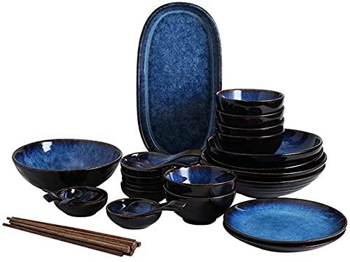 LLDKA Vajilla Conjuntos Placa y Conjunto, Platos Conjunto de Platos de vajilla para el hogar Platos, Platos y Conjuntos de tazones adecuados,32