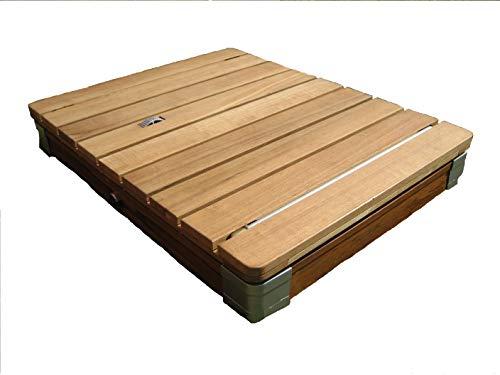 mc shower Das Original Gartendusche aus Echtholz, Mobile Bodendusche, Outdoor-Shower, Einzigartiges Konzept - eckig 70x55x10