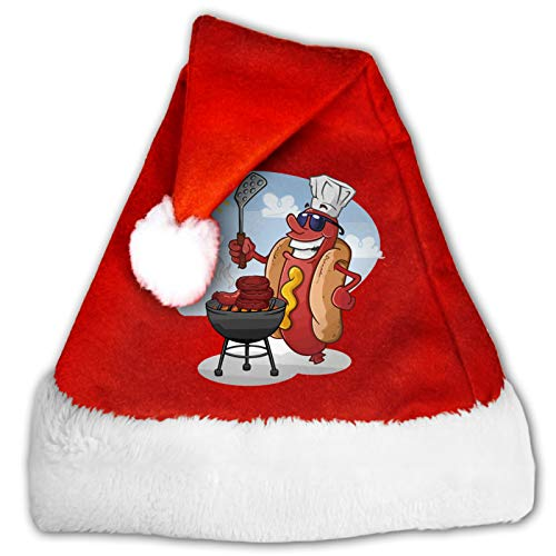 Funny Cooking Hot Dog Unisex Santa Hat,Comfort Red and White Plush Velvet Christmas Party Hat