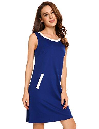 Beyove Women's Denim Patchwork Casual Sleeveless Mini Tunic Dress,Navy Blue,M