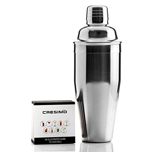 24oz Cocktail Shaker - Stainless Steel Drink Shaker With Built In Strainer Lid And Martini Drink Mixer Recipe Guide - Alcohol Shaker Cocktail Kit Perfect For All Beginners & Pro Bartenders - Cresimo