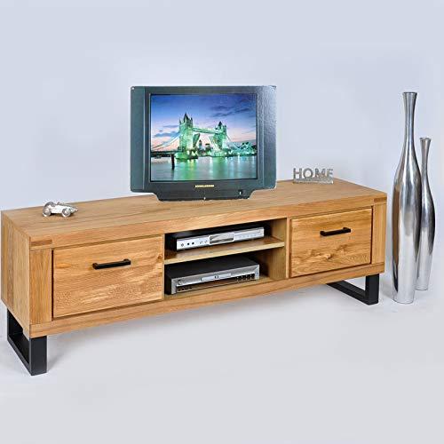 DK-Wohnen Lowboard TV Kommode Wildeiche Teilmassiv geölt B170xH52xT50 ELFO Tina 2348