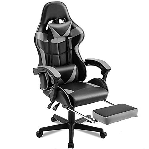 Gaming-Stuhl, E-Sports-Stuhl Racing Office Gamer Stuhl Verstellbarer Swivel Computer Schreibtischstuhl Ergonomisch High Back Liegestuhl mit Fußstütze Grey