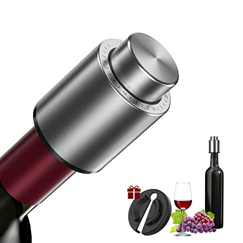 Wine Saver Vacuum Pump with Time Scale Record Stainless Steel Reusable Wine Preserver with Silicone for Best Gift of Wine Lovers Bottle Stopper for Keeping Wine Fresh up to 10 Days