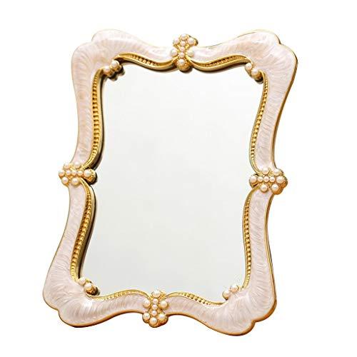 NJYT Compact de Voyage de Miroir de Maquillage, Haute Définition Pliant Portable avec Style Rétro Convient Aux Femmes Cadeau de Mariage (Couleur : Blanc)