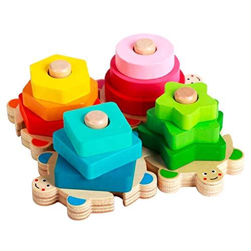 SunshineTec Sortierspiel Farben- und Formen aus Holz, Steckspiel, Stapelspiel, Holzblockspiel