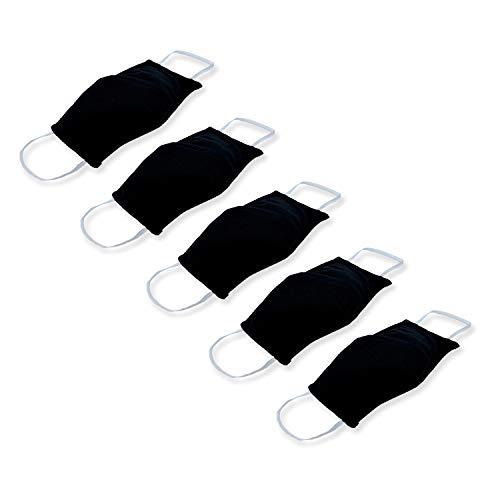 KUNSTIFY 5 Stück Elastische Stoffmasken Mund und Nasenschutz waschbar aus Baumwolle mit elastischen Bändern verstellbare Ohrschlaufen MNS schwarzer Mundschutz schwarz Mund Nasen Schutz Maske Stoff