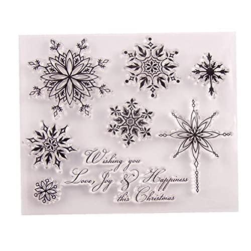 TOSSPER 1pc Timbres Transparents Snowflake Christmas Clear Clear Caoutchouc Silicone Scrapbooking pour Fabrication De Cartes Album Craft Decor