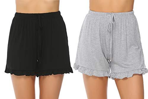 Hawiton Damen Schlafanzughose Pyjamahose Kurz Baumwolle Nachtwäsche, Uni-schwarz&grau, Gr.- S