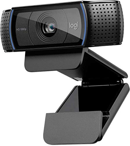 Logitech C920 HD Webcam Full HD 1080p/30fps Videollamadas, audio estéreo claro, corrección de luz HD, funciona con Skype, Zoom, FaceTime, Hangouts, PC/Mac/Laptop/Macbook/Tablet - Negro