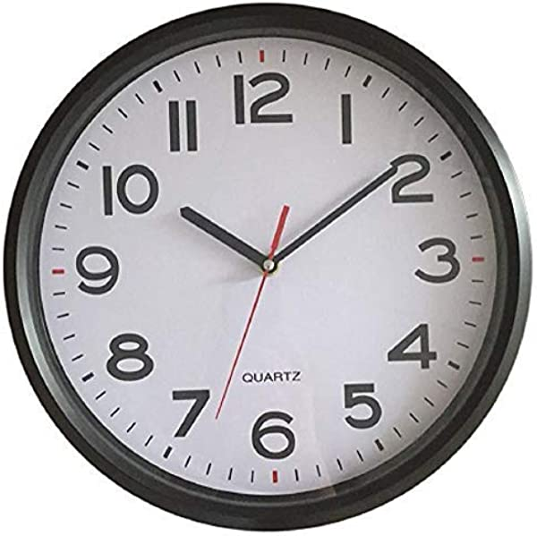 Vmarketingsite 12 Inch Wall Clock Battery Operated Silent Non Ticking Decorative Modern Round Quartz Black Analog Classroom Hanging Clocks Large Numbers Office Kitchen Bedroom Bathroom Gym
