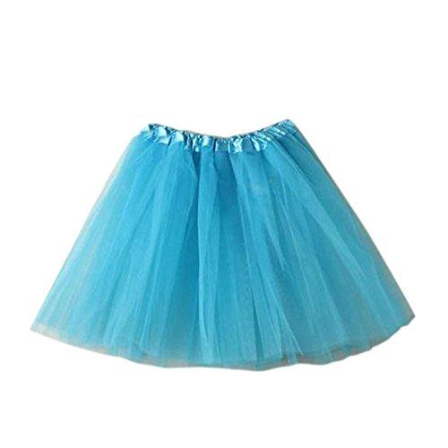 Damen Tütü Tutu Minirock Petticoat Tanzkleid Ballettrock Pettiskirt Unterrock, Mutter, Hellblau