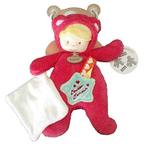Babynat - Doudous et Peluches - Poupée déguisée en chat - Pantin et son mouchoir - Doudou d'Amour - Peluche bébé fille - Taille : 26 cm - BN795