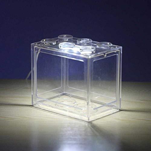 zhuao Mini Aquarium, Beleuchtete Innenministerium Aquarium, Couchtisch Dekorative Fütterungsbox Transparent