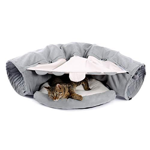 PAWZ Road Katzentunnel Katzenspielzeug Rascheltunnel Spieltunnel mit Kratzenbett grau/grün 126cm